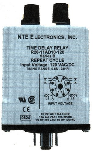 NTE Electronics R26-11AD10-12 Series R26 Programmable Repeat Cycle Time Delay Relay, DPDT, 10 Amp, 8 Pin, 12VAC/DC (Cycle Series Viii)