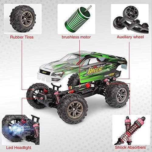Hosim Ferngesteuertes Auto mit Super Schnelle Geschwindigkeit 52 km/h, 1:16 Maßstab RC Offroad Monster Truck, Spielzeugauto für Kinder und Erwachsene (Grün)