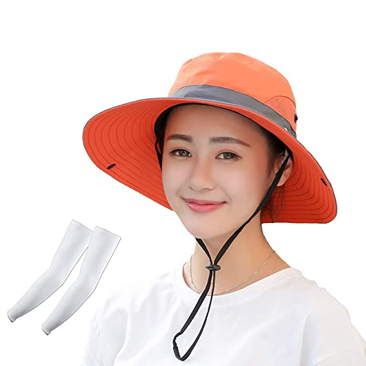 10d3e7552ca Kukcone Women s UV Protection Wide Brim Mesh Foldable Summer Sun Hat ...
