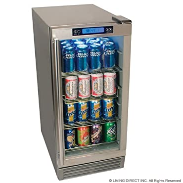Outdoor Beverage Refrigerator 84 Can EdgeStar- Stainless Steel with Glass Door