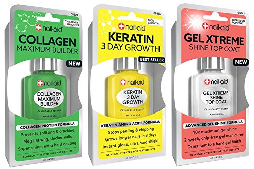 NAIL-AID Collagen Base + Keratin Growth + Gel Top Coat, Clear, 3 Count (Best Nail Polish For Weak Brittle Nails)