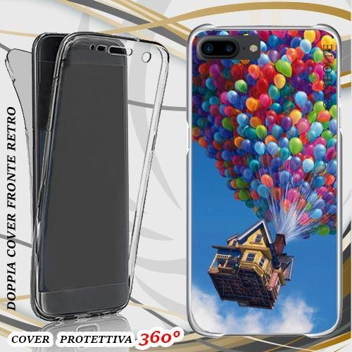 CUSTODIA COVER CASE CASA PALLONCINI PER IPHONE 7 PLUS FRONT BACK