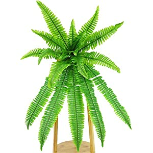 Tutuziyyy Artificial Fern Plant Wall Hanging Persian Rattan Plastic Fern Leaf Bunch Leaves for Home Table Arrangement Wall Wedding Garland Hanging Décor 24