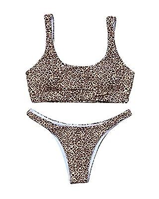 MOOSKINI Women High Cut Brazilian Bikini Bottom Scoop Neck Crop Top Swimsuit