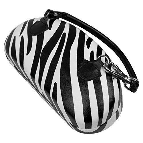 Extra Large Sunglasses Hard Case W/ Handle For Over Sized Glasses, Eyewear, Zebra