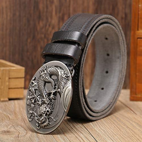 BCNJ Ceinture Tissage Courroie Mode Hommes Ceintures en Cuir De Vachette Dragon Tête Boucle Lisse Homme Ceinture De Mode Jeunes Gens De Mâle Jeans Bracelet G-q-black
