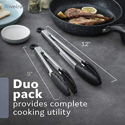 Riveira Tongs for Cooking with Silicone Tips | 9 and 12-Inch Pieces Set | Non-Stick Kitchen Grill Tongs | BBQ Grilling Tong | 550°F High Heat-Resistant Premium Silicone Tips | 304 Stainless Steel