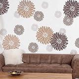 Starburst Zinnia Floral Wall Art Stencil - X-Small - Reusable Stencils for Walls - DIY Wall Design - By Cutting Edge Stencils