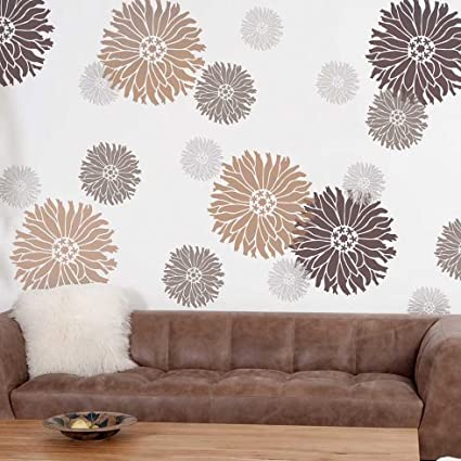 Starburst Zinnia Floral Wall Art Stencil   X Small   Reusable Stencils For  Walls