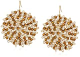 "Kenneth Cole New York ""Shiny Gold Items"" Gold and Neutral Tonal Beaded Woven Drop Earrings"