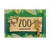 NYMB Animal Decor, Zoo Background with Monkey and Giraffe Bath Rugs, Non-Slip Doormat Floor Entryways Outdoor Indoor Front Door Mat, Kids Bath Mat, 15.7x23.6in, Bathroom Accessories