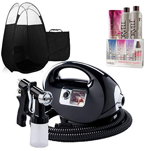 Self Tanning System (Black Fascination Spray Tan Machine, Black Tent, Norvell Tan Solution Sunless Kit)