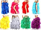 Demon Baby Girls' Belly Dance Side Slit Skirt Princess Party Latin Split Skirt Flower Laced Ball Gown(8Piece/Set,M)