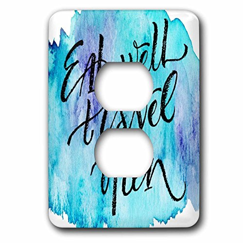 3dRose Anne Marie Baugh - Quotes - Eat Well, Travel Often On A Light and Dark Blue Watercolor Background - Light Switch Covers - 2 plug outlet cover (lsp_255061_6) by 3dRose