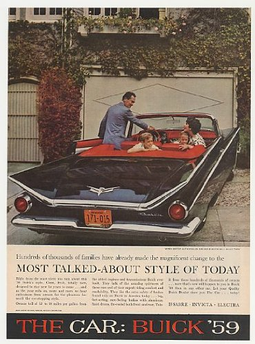1959 BUICK CONVERTIBLE LARGE COLOR AD - USA - EXCELLENT !! (Buick Convertible)