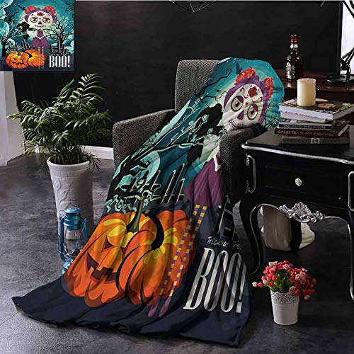 SSKJTC Halloween Gold Throw Blanket Girl Sugar Skull Makeup Livingroom Couch Bed Camping Picnic W70 xL84