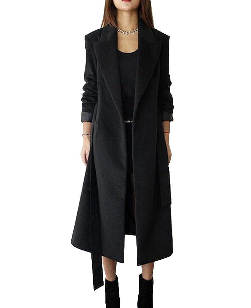 Cappotto lungo invernale da donna, Cardigan Giacca a maniche lunghe miscela di lana con cintura