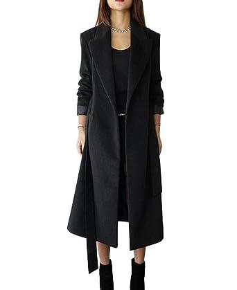 low priced e584d e6747 Cappotto lungo invernale da donna,Cardigan Giacca a maniche lunghe miscela  di lana con cintura