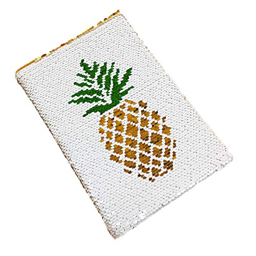 - Reversible Sequin Notebook Diary, Magic Sequin Office Notebook Mermaid Notepad School Diary for Boys Girls Birthday Festival Gifts (Pineapple)