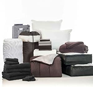 OCM College Dorm Room 24-Piece Complete Campus Pak   Twin XL   with Topper, Comforter, Sheets, Towels, Storage & More   Black and Gray   Classic Solids
