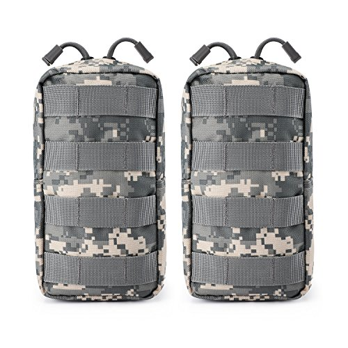 G4Free 2 Pack Tactical Molle Pouches Compact Utility EDC Waist Bag Pack Small Gear Gadget for Chest Vest Tactical Backpack(New ACU Camouflage) ()