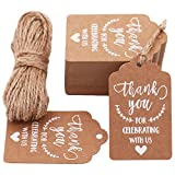 MAMUNU Thank You for Celebrating with Us Tags, 100 PCS Kraft Tags with 20 Meters Natural Jute Twine for Wedding, Baby Shower, Thanksgiving and Party Decoration (Brown 01)
