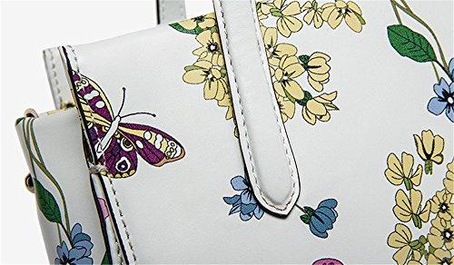 La mujer Xinmaoyuan Bolsos Bolso De cuero genuino de impresión Bolsa cuadrada pequeña bolsa bandolera, blanco Blanco