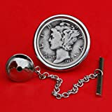 US 1937 Mercury Dime 90% Silver 10 Cent Coin Silver Plated Tie Tac Tack Pin NEW