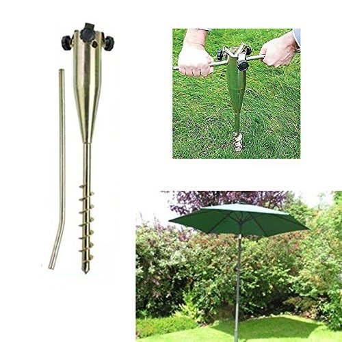 22''Long Soild Metal Rod holder Beach/Garden Umbrella Sand Flag Pole Holder/Grass Anchor/ Ground Spike Base For Rotary Dryer Clothes Line LamYHeng