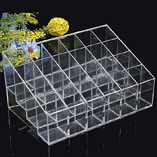 Wewin 24 Lipstick Holder Display Stand Clear Acrylic Cosmetic Organizer Makeup Case Sundry Storage Makeup Organizer