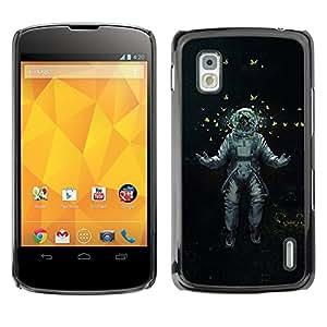 QCASE / LG Google Nexus 4 E960 / cosmonauta astrounaut mariposas arte espacio / Delgado Negro Plástico caso cubierta Shell Armor Funda Case Cover