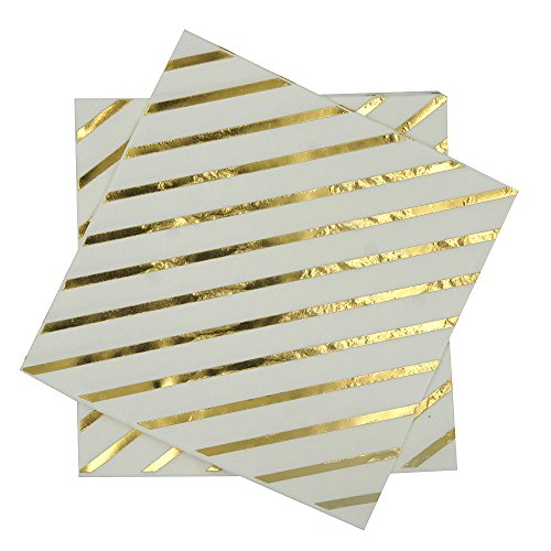 Gold Foil Striped napkins,6.550counts,2Ply,Disposable Gold Napkins Perfect for Birthday,Wedding,Bachelorette Party,Babyshower,Bridalshower (Gold Foil Stripes, 6.5x6.5)