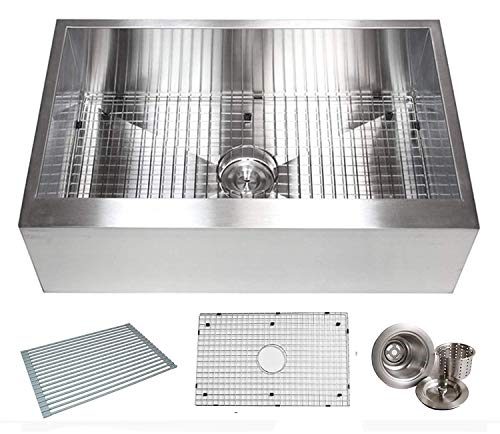 (36 INCH Zero Radius Design 16 Gauge Single Bowl Stainless Steel Flat Farmhouse Apron Kitchen Sink Premium Package (36 INCH) KKR-HFS3621)
