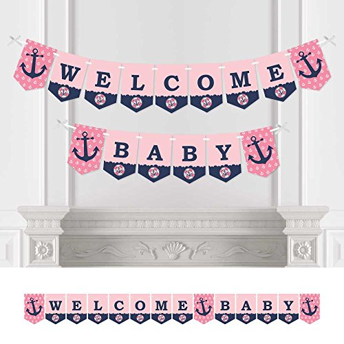 Big Dot of Happiness Ahoy - Nautical Girl - Baby Shower Bunting Banner - Anchor Party Decorations - Welcome Baby