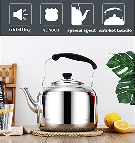 Extra Sturdy Stainless Steel Whistling Tea Kettle for Stovetop Induction Cooker, 10 Quart by Towa (Image #2)