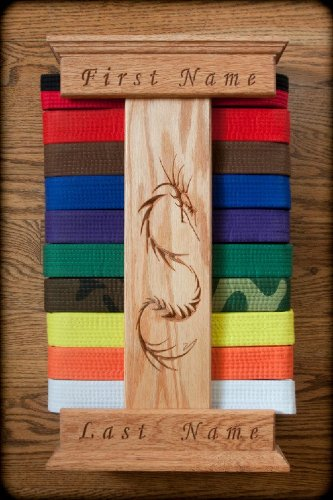Personalized Oak Karate Belt Display Dragon Style Buy