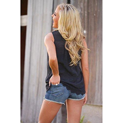 LHWY Femmes Summer Vest Top manches débardeurs en dentelle Casual (S)