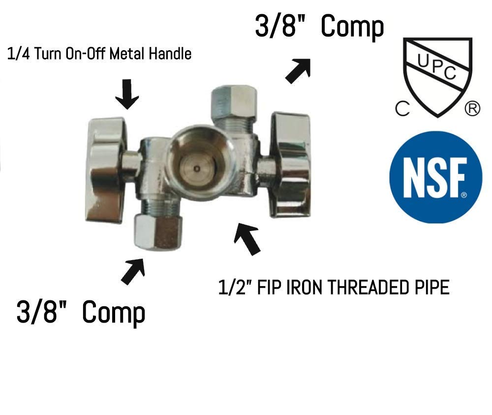 "1/2""FIP Iron Pipe x 3/8"" OD Comp x 3/8"" OD Comp Dual Handle 3 Way Angle Stop Water Shutoff Ball Valve, Lead-Free (1)"