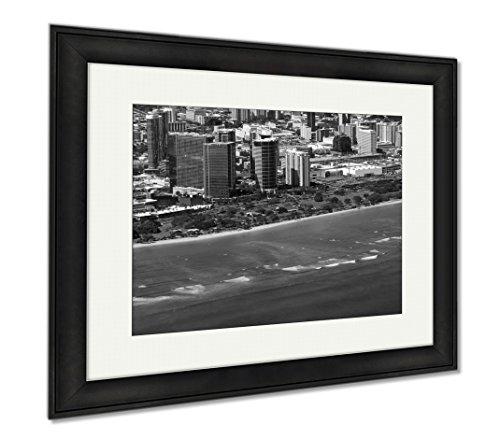 Ashley Framed Prints Aerial Of Ala Moana Beach Park Mall Condos And Cityscape Of H, Office/Home/Kitchen Decor, Black/White, 30x35 (frame size), Black Frame, - Mall Moana Hawaii Ala