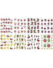 12 ark/set färgglada frukter Nail Art Transfer Fruit spik Flower Geometric Manicure Wraps Decor