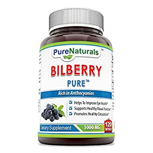 Pure Naturals Bilberry Extract 1000 mg Soft Gels, 120 Count