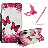 Strap Leather Case for Galaxy A7 2018,Wallet Flip Case for Galaxy A7 2018,Herzzer Stylish Elegant 3D Red Butterfly Pattern Magnetic Stand Shockproof Folio PU Leather Case with Soft TPU