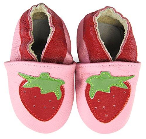 axy - Patucos de Piel para niña Rosa multicolor