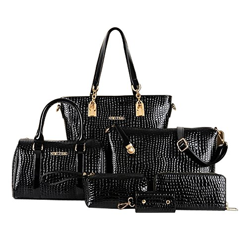 Women Handbag,Women Bag, Shoulder Bag Purse Wallet KINGH 6 Piece Tote Vintage Style PU Leather 020 Black