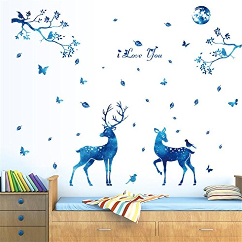 Koolee Clearance Deer Wall Sticker Elk Head DIY Household Wall Decal Removable Stick Wall Blue Starlight Wall Bedroom Parlor - Ivy English Brick