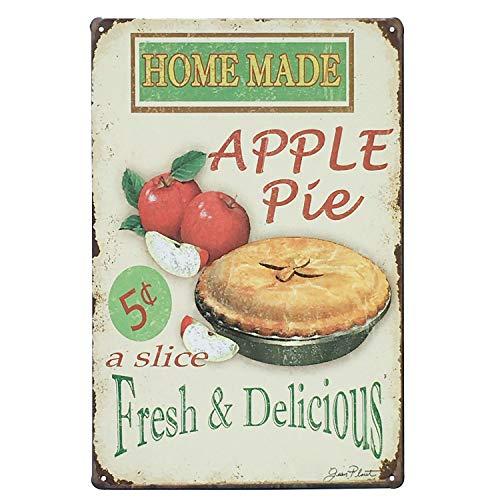 UNIQUELOVER Home Made Apple Pie Fresh & Delicious,Retro Vintage Metal Tin Signs Pub Bar Decor 12 X 8