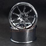 Overdose WORK EMOTION D9R Rim +7 Offset 2pcs High Chrome For 1/10 RC Drift #OD1720