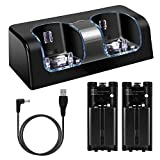 Wii Charging Station for Remote Controller, Dual Charger Dock with 2 Rechargeable Batteries LED Indicator USB Charging Cord -Black