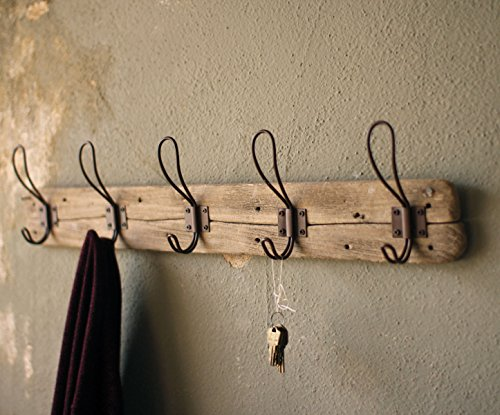 Entryway Rustic Style 5 Hook Wall Mount Wooden Coat Rack, Brown, Large, 26