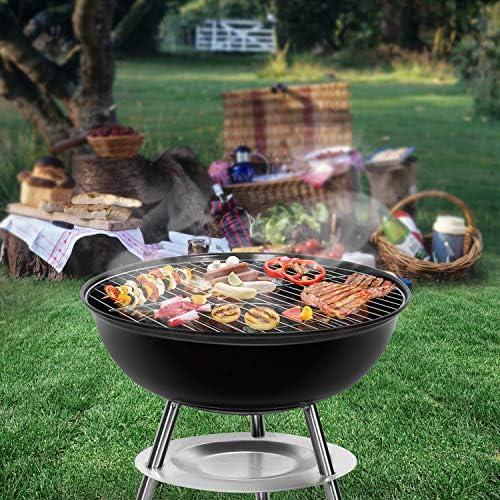 SunJas Barbecue Charbon de Bois BBQ Gril Portable Démontable pour Barbecue extérieur de Jardin Camping et Pique Nique - 36.5 * 36.5 * 37cm (Pour 3-5 Personnes)